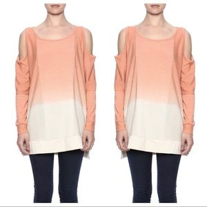 EASEL COLD SHOULDER SWEATSHIRT TOP L PEACH ORANGE